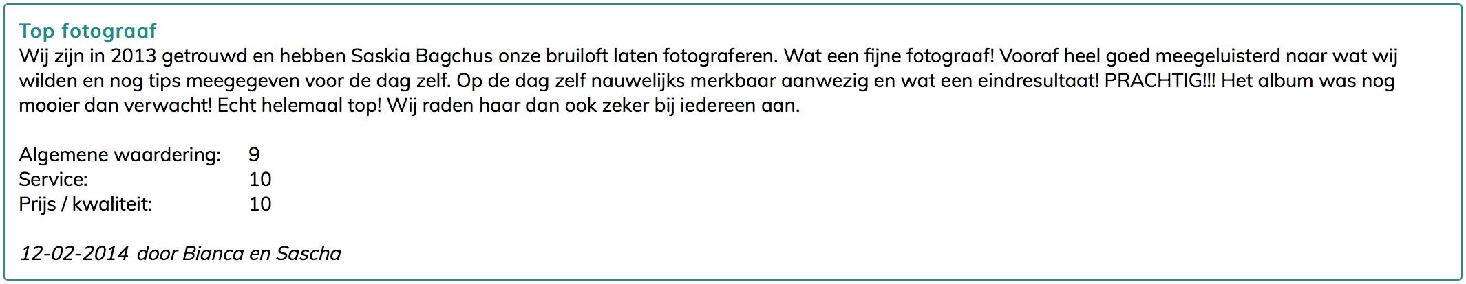 testimonials review bruidsfotograaf amsterdam